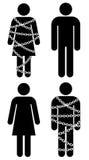 Gente de la silueta con las cadenas en el fondo blanco Foto de archivo