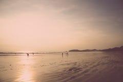 Gente de la silueta en la playa con puesta del sol Foto de archivo libre de regalías