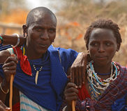 Gente de la tribu de Maasai, Tanzania Imágenes de archivo libres de regalías
