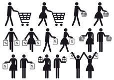 Gente de las compras, conjunto del icono del vector Imagen de archivo libre de regalías