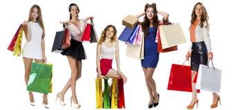 Gente de las compras del collage fotografía de archivo libre de regalías