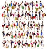 Gente de las compras del collage imágenes de archivo libres de regalías
