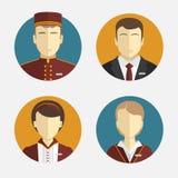 Gente de los avatares El personal del hotel Recepción, cortinas, encargado de la criada Diseño plano del vector Imagen de archivo