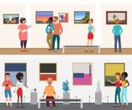 Gente de los visitantes del museo del vector en el museo de la galería de la exposición de arte que mira imágenes y otros objetos libre illustration
