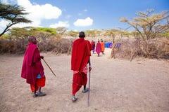 Gente de Maasai y su pueblo en Tanzania, África Imagen de archivo libre de regalías