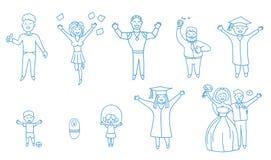 Gente de risa feliz alegre Alinee el icono para el web, el móvil y el infographics ilustración del vector