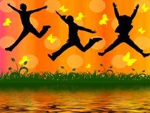 Gente de salto Imagen de archivo libre de regalías