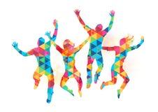 Gente de salto feliz Fotografía de archivo libre de regalías