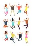 Gente de salto feliz Hombre y mujer emocionados en salto Caracteres del vector de las personas del vuelo aislados libre illustration