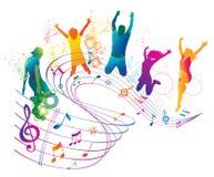 Gente de salto y de baile activa. stock de ilustración