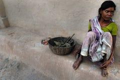 Gente del área de las minas de carbón de Jharia en la India Fotografía de archivo