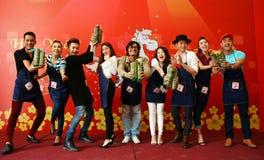Gente del artista en la competencia tradicional de la comida Imágenes de archivo libres de regalías