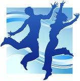 Gente del baile en azul Fotografía de archivo libre de regalías