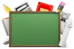 gente del blanco 3D. Profesor con la tarjeta de escuela Fotos de archivo libres de regalías
