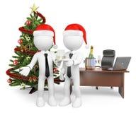 gente del blanco 3d Fabricación de una tostada en la oficina por el Año Nuevo Imagen de archivo