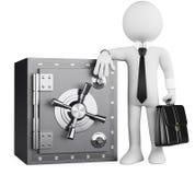 gente del blanco del asunto 3D. Banquero y caja fuerte Foto de archivo libre de regalías