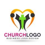 Gente del globo del cuidado de la iglesia con símbolo cruzado del amor del icono del logotipo del corazón en el fondo blanco ilustración del vector
