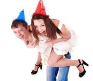 Gente del grupo en sombrero del partido. Fotos de archivo libres de regalías
