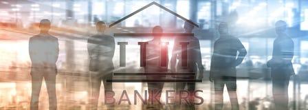 Gente del hombre de negocios de los banqueros en fondo abstracto Pluma, lentes y gráficos libre illustration