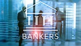 Gente del hombre de negocios de los banqueros en fondo abstracto Pluma, lentes y gr?ficos libre illustration