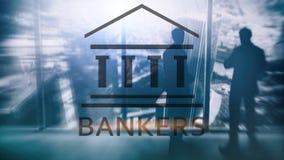 Gente del hombre de negocios de los banqueros en fondo abstracto Pluma, lentes y gr?ficos ilustración del vector