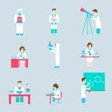 Gente del laboratorio de investigación de la ciencia y sistema plano del icono de los objetos Foto de archivo libre de regalías
