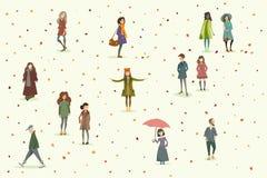 Gente del oto?o conjunto stock de ilustración
