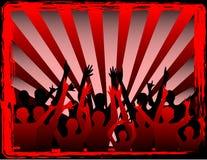 Gente del partido en redb Imagen de archivo libre de regalías