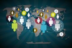 Gente del vector en círculos en mapa del mundo Imagen de archivo