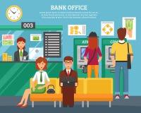 Gente dentro del concepto de diseño de la oficina del banco Imagenes de archivo
