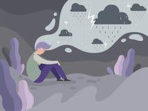 Gente deprimida Soledad solamente en el fondo lluvioso del concepto del vector del tiempo del hombre cansado de la ciudad ilustración del vector