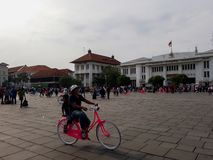 Gente desconocida Museo de Batavia del museo de la historia situado en la ciudad vieja Kota Tua de Jakarta fotografía de archivo libre de regalías