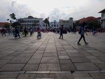 Gente desconocida Museo de Batavia del museo de la historia situado en la ciudad vieja Kota Tua de Jakarta imagen de archivo
