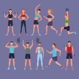 Gente determinada que hace ejercicio libre illustration