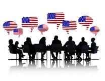 Gente di affari americana che ha una riunione Fotografie Stock Libere da Diritti