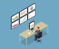 Gente di affari analitica sul rapporto del grafico del monitor e su SEO sul web Vettore piano workplace ufficio Uomo di affari Fi Immagini Stock