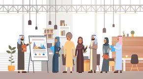Gente di affari araba di presentazione Flip Chart Finance, persone di affari arabe Team Training Conference Muslim del gruppo illustrazione di stock