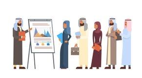 Gente di affari araba di presentazione Flip Chart Finance, persone di affari arabe Team Training Conference Muslim del gruppo royalty illustrazione gratis