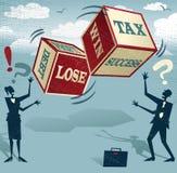 Gente di affari astratta con i dadi finanziari di fortuna Immagini Stock Libere da Diritti