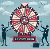 Gente di affari astratta con la ruota della fortuna finanziaria Immagini Stock Libere da Diritti