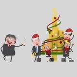 Gente di affari che decora l'albero 3D dei soldi Fotografia Stock