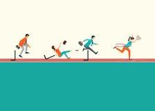 Gente di affari che dirige e che salta le transenne sulla pista di gomma rossa royalty illustrazione gratis