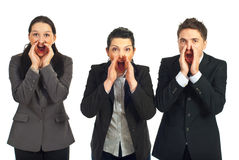 Gente di affari che grida alto fuori Fotografia Stock Libera da Diritti