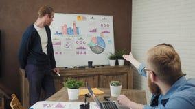 Gente di affari che ha una riunione facendo uso di un bordo bianco nello spazio ufficio moderno stock footage