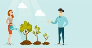 Gente di affari che innaffia gli alberi di tre dimensioni illustrazione di stock