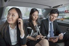 Gente di affari che lavora in parte posteriore dell'automobile Fotografie Stock Libere da Diritti