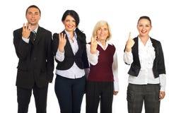 Gente di affari che mostra contando le barrette Fotografia Stock Libera da Diritti