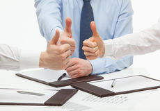 Gente di affari che mostra i pollici in su Fotografia Stock Libera da Diritti