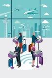 Gente di affari che per mezzo del computer portatile all'aeroporto Immagine Stock Libera da Diritti