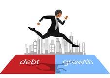 Gente di affari che si dirige e che salta sul rischio fra il debito e la crescita Fotografie Stock
